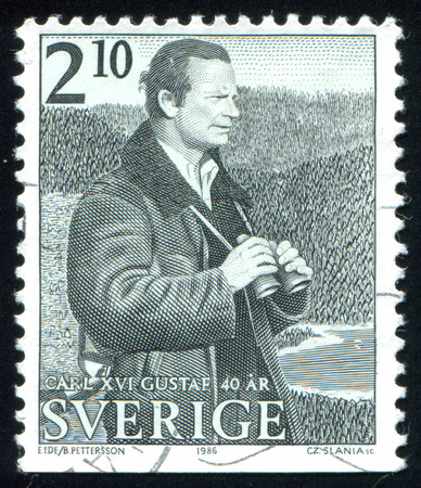 king carl xvi gustaf: SWEDEN - CIRCA 1986: stamp printed by Sweden, shows King Carl XVI Gustaf, circa 1986