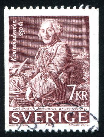 carl: SWEDEN - CIRCA 1985: stamp printed by Sweden, shows Baron Carl Frederik Adelcrantz, by Alexander Roslin, circa 1985 Editorial