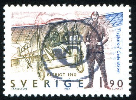 carl: SWEDEN - CIRCA 1984: stamp printed by Sweden, shows Carl Gustaf Cederstrom, Bleriot, circa 1984 Editorial