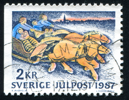 SWEDEN - CIRCA 1987: stamp printed by Sweden, shows Sled-race home from church on Christmas Day, circa 1987