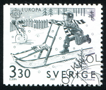 SWEDEN - CIRCA 1989: stamp printed by Sweden, shows Kick sledding, circa 1989