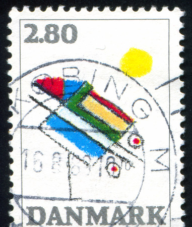 abstact: DENMARK - CIRCA 1987: stamp printed by Denmark, shows Abstact by Ejler Bille, circa 1987 Editorial