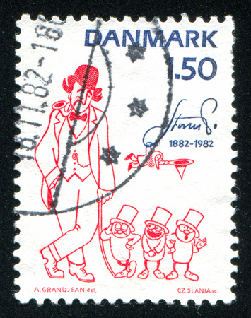 DENMARK - CIRCA 1982: stamp printed by Denmark, shows Three little men and the number man by Robert Storm Petersen, circa 1982