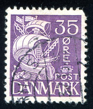 maneuverable: DENMARK - CIRCA 1927: stamp printed by Denmark, shows Caravel, circa 1927