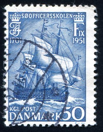 maneuverable: DENMARK - CIRCA 1951: stamp printed by Denmark, shows Warship, circa 1951