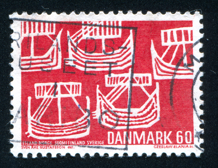 maneuverable: DENMARK - CIRCA 1969: stamp printed by Denmark, shows Five Ancient Ships, circa 1969