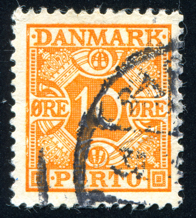 DENMARK - CIRCA 1921: stamp printed by Denmark, shows Royal Emblems, circa 1921