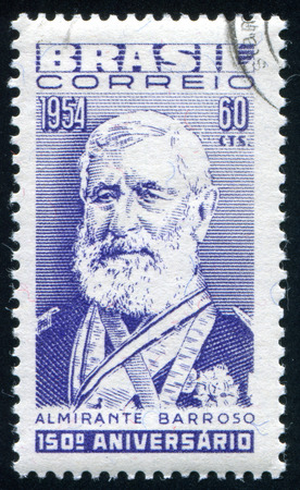 silva: BRAZIL - CIRCA 1954: stamp printed by Brazil, shows  Admiral Francisco Manoel Barroso da Silva, circa 1954 Editorial