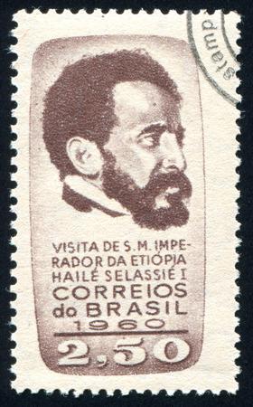 BRAZIL - CIRCA 1960: stamp printed by Brazil, shows  Emperor Haile Selassie of Ethiopia, circa 1960