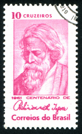 tagore: BRAZIL - CIRCA 1961: stamp printed by Brazil, shows  Rabindranath Tagore, Indian poet, circa 1961 Editorial