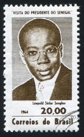 leopold: BRAZIL - CIRCA 1964: stamp printed by Brazil, shows  Leopold Sedar Senghor, President of Senegal, circa 1964 Editorial