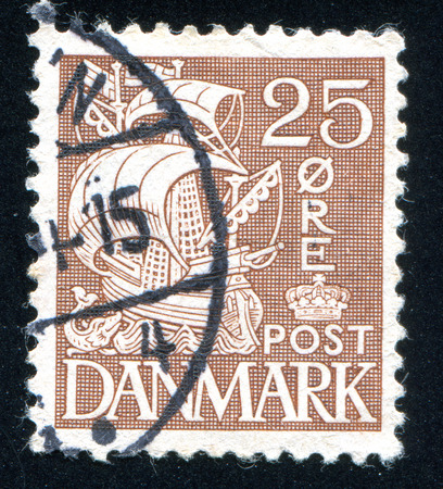 maneuverable: DENMARK - CIRCA 1927: stamp printed by Denmark, shows Caravel, circa 1927