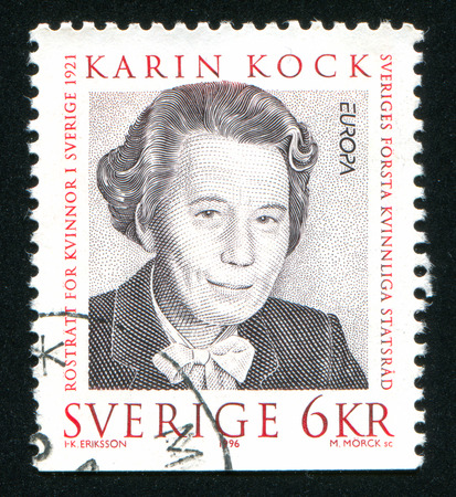 economist: SWEDEN - CIRCA 1996: stamp printed by Sweden, shows Karin Kock, economist, circa 1996
