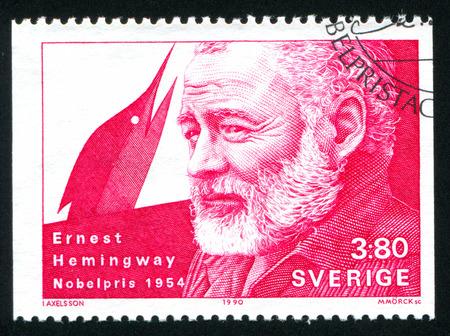 hemingway: SWEDEN - CIRCA 1990: stamp printed by Sweden, shows Ernest Hemingway, circa 1990