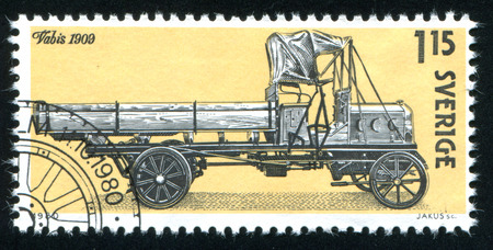 autotruck: SWEDEN - CIRCA 1980: stamp printed by Sweden, shows Swedish Automobile History, circa 1980