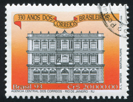 BRAZIL - CIRCA 1993: stamp printed by Brazil, shows  Post Office, Rio de Janeiro, circa 1993