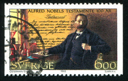 nobel: SWEDEN - CIRCA 1995: stamp printed by Sweden, shows Alfred Nobel, circa 1995