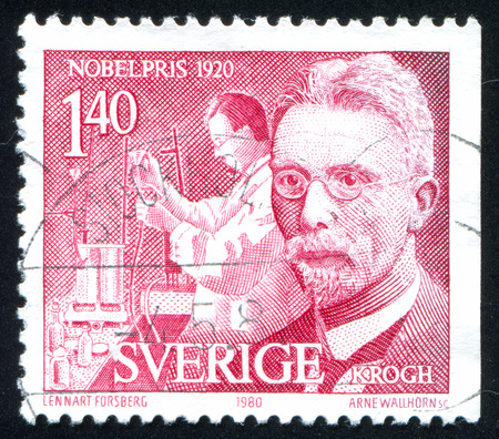 physiologist: SWEDEN - CIRCA 1980: stamp printed by Sweden, shows August Krogh physiologist, circa 1980