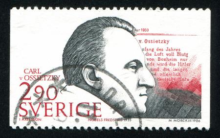 carl: SWEDEN - CIRCA 1986: stamp printed by Sweden, shows Carl von Ossietzky, circa 1986 Editorial