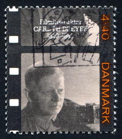 screenwriter: DANIMARCA - CIRCA 1989: timbro stampato dalla Danimarca, mostra Carl Th. Dreyer, sceneggiatore e regista, circa 1989