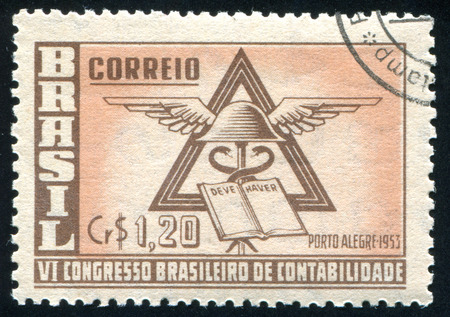 ledger: BRAZIL - CIRCA 1953: stamp printed by Brazil, shows  Ledger and Winged Cap, circa 1953 Editorial