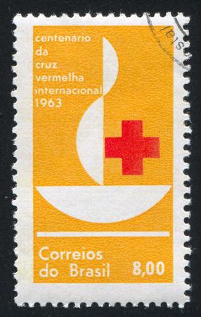 centenary: BRAZIL - CIRCA 1963: stamp printed by Brazil, shows  Centenary Emblem, circa 1963 Editorial