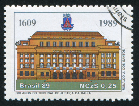 law of brazil: BRAZIL - CIRCA 1989: stamp printed by Brazil, shows  Court of Justice, Bahia, circa 1989 Editorial