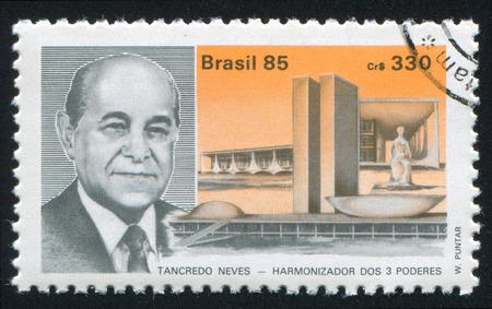 elect: BRAZIL - CIRCA 1985: stamp printed by Brazil, shows  President elect Tancredo Neves, circa 1985 Editorial