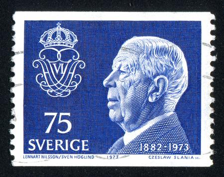 gustaf: SWEDEN - CIRCA 1973: stamp printed by Sweden, shows King Gustaf VI Adolf, circa 1973