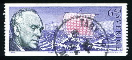frans: SWEDEN - CIRCA 1994: stamp printed by Sweden, shows Frans G. Bengtsson, circa 1994