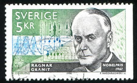 laureates: SWEDEN - CIRCA 1996: stamp printed by Sweden, shows Ragnar Granit, neurophysiologist, circa 1996