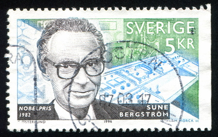 laureates: SWEDEN - CIRCA 1996: stamp printed by Sweden, shows Sune Bergstrom, medical chemist, circa 1996 Editorial