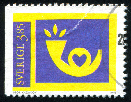 posthorn: SWEDEN - CIRCA 1996: stamp printed by Sweden, shows Posthorn, circa 1996 Editorial