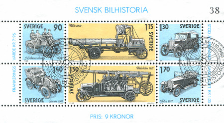 SWEDEN - CIRCA 1980: stamp printed by Sweden, shows Swedish Automobile History, circa 1980