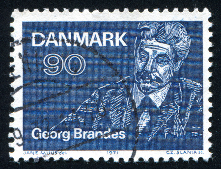 critic: DENMARK - CIRCA 1971: stamp printed by Denmark, shows Georg Brandes writer and literary critic, circa 1971 Editorial