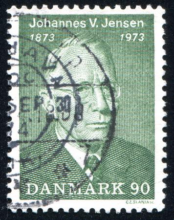johannes: DENMARK - CIRCA 1973: stamp printed by Denmark, shows Johannes Vilhelm Jensen, circa 1973