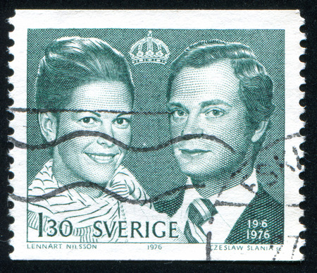 Sweden - CIRCA 1976: stamp printed by Sweden, shows King Carl XVI Gustaf and Queen Silvia, circa 1976