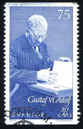 gustaf: SWEDEN - CIRCA 1972: stamp printed by Sweden, shows King Gustaf VI Adolf, circa 1972 Editorial