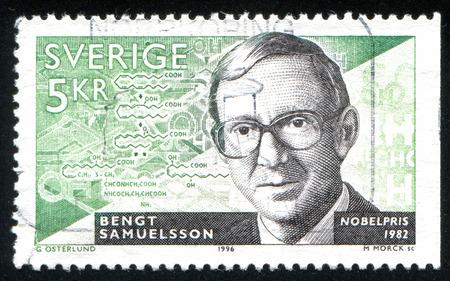 laureates: SWEDEN - CIRCA 1996: stamp printed by Sweden, shows Bengt Samuelsson, medical chemist, circa 1996