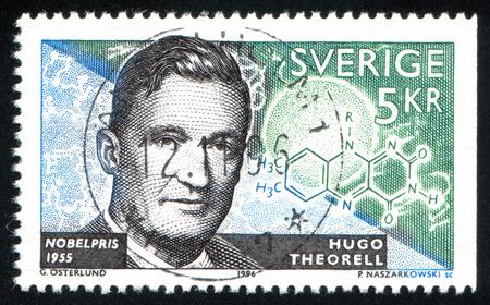 laureates: SWEDEN - CIRCA 1996: stamp printed by Sweden, shows Hugo Theorell, biochemist, circa 1996