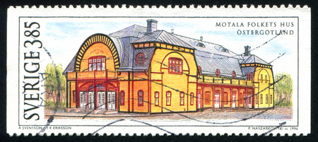 assembly hall: SWEDEN - CIRCA 1996: stamp printed by Sweden, shows Motala Assembly Hall, Ostergotland, circa 1996