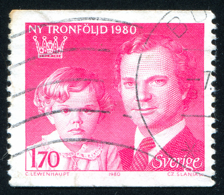 king carl xvi gustaf: Sweden - CIRCA 1980: stamp printed by Sweden, shows Crown Princess Victoria and King Carl XVI Gustaf, circa 1980