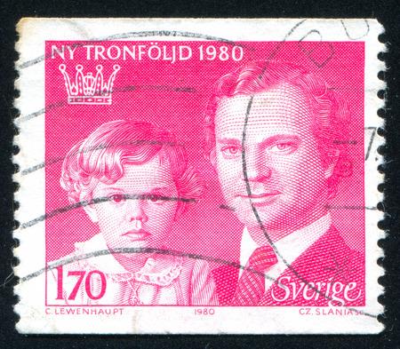 gustaf: Sweden - CIRCA 1980: stamp printed by Sweden, shows Crown Princess Victoria and King Carl XVI Gustaf, circa 1980
