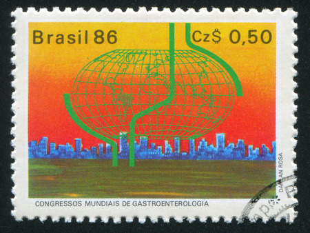 gastroenterology: BRAZIL - CIRCA 1986: stamp printed by Brazil, shows  World Gastroenterology Congress Sao Paulo, circa 1986 Editorial