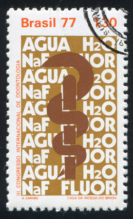 BRAZIL - CIRCA 1977: stamp printed by Brazil, shows  Caduceus Formulas for Water and Fluoride, circa 1977