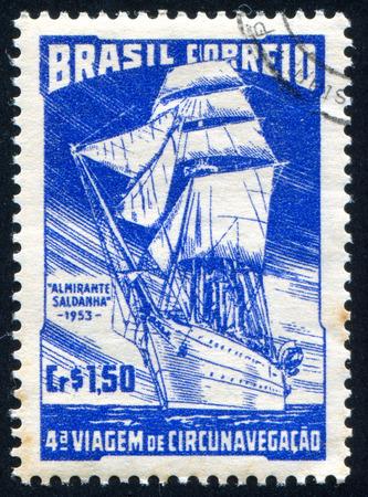 ketch: BRAZIL - CIRCA 1953: stamp printed by Brazil, shows  ancient ship, circa 1953 Editorial