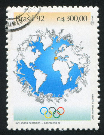 summer olympics: BRAZIL - CIRCA 1992: stamp printed by Brazil, shows  1992 Summer Olympics Barcelona, circa 1992