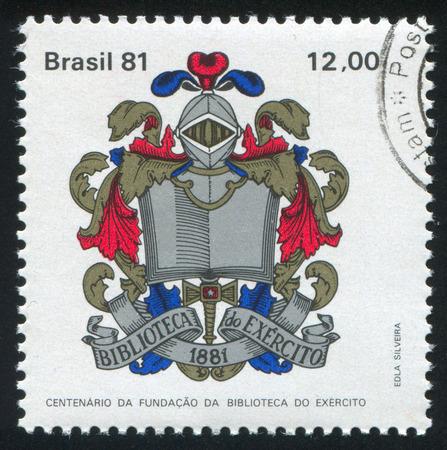 centenary: BRAZIL - CIRCA 1981: stamp printed by Brazil, shows  Army Library Centenary, circa 1981