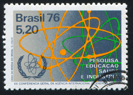 BRAZIL - CIRCA 1976: stamp printed by Brazil, shows  atom, circa 1976