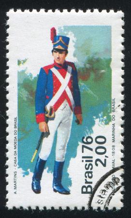 BRAZIL - CIRCA 1976: stamp printed by Brazil, shows  soldier, circa 1976